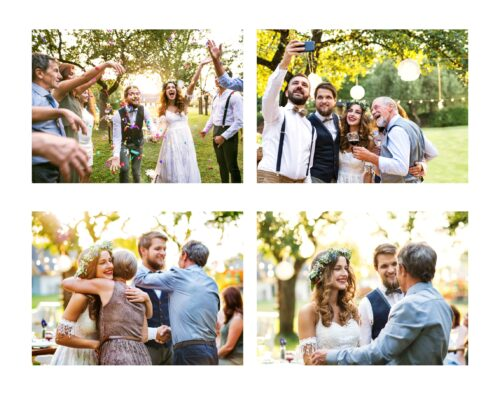 A collage of four photos at an outdoor wedding reception at sunset. Top left: A bride and groom walk down an aisle created by guests standing in lines on either side. The guests are throwing colourful confetti. Bottom left: A bride is standing in front of a table and is hugging a woman. A groom is beside her shaking hands with a man. Top right: A bride and groom are surrounded by a small group of guests while a man takes a selfie of the group. Bottom right; Bride and groom are standing side by side talking to a man