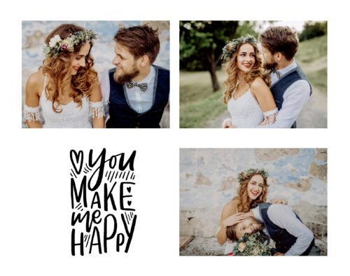 """This is a 4 photo collage. Top left: a bride sits beside a groom in front of a stone wall. Bottom left: text that reads, """"You make me happy"""" with some hearts. Top right: Outdoors on a gravel path, a groom on the right hugs a bride on the left. There is a tree in the background. Bottom right: A bride is sitting beside a groom in front of a stone wall. The groom's head is resting on the bride's lap with a bouquet in front of him. The bride is laughing."""