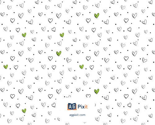 Back cover covered with hand drawn hearts and dots. Some hearts are green and some are white outlined with gray with the AG Pixit logo and website address centered at the bottom